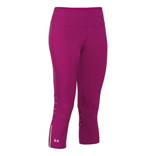 Womens Under Armour ArmourVent Stretch Woven Capri Tights - Aubergine/Aubergine M