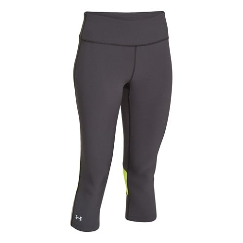 Womens Under Armour ArmourVent Stretch Woven Capri Tights - Dark Grey/Laser Yellow M
