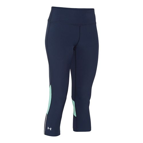 Womens Under Armour ArmourVent Stretch Woven Capri Tights - Navy/Mint M