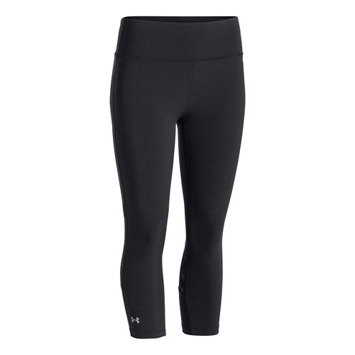 Womens Under Armour ArmourVent Stretch Woven Capri Tights - Faded Ink/Faded Ink XL