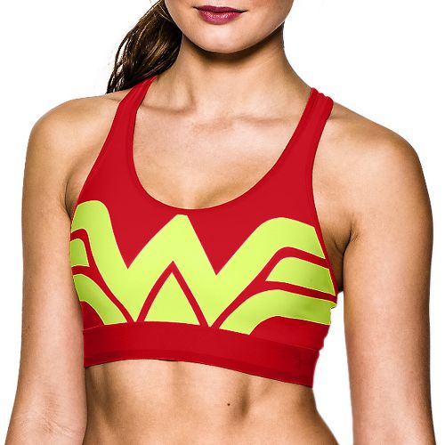 Womens Under Armour Alter Ego Wonder Woman Sports Bra - Red/Neon Yellow S