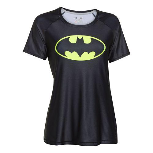 Womens Under Armour Alter Ego Heatgear Sonic Batgirl T Short Sleeve Technical Tops - Black/Neon ...