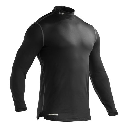 Mens Under Armour ColdGear Fitted Mock Long Sleeve No Zip Technical Tops - Black S ...