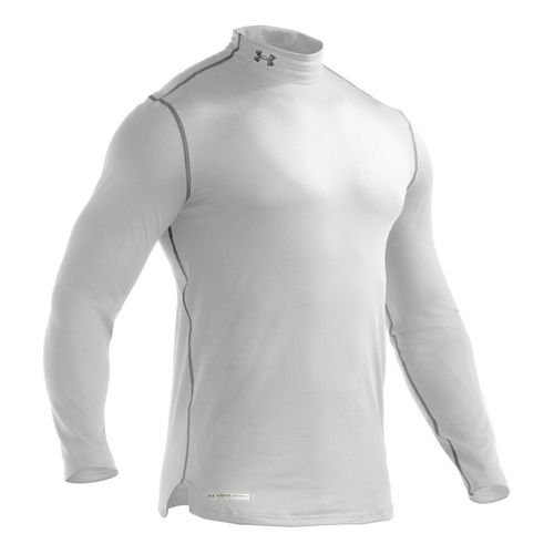 Mens Under Armour ColdGear Fitted Mock Long Sleeve No Zip Technical Tops - White L ...