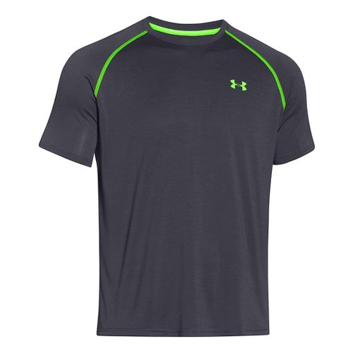 Mens Under Armour UA Tech Short Sleeve T Technical Tops - Stealth Grey/Green S