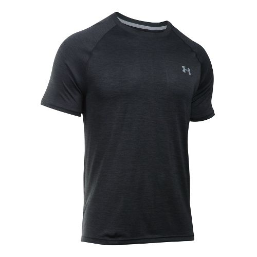 Mens Under Armour Tech Short Sleeve T Technical Tops - Black/Steel Twist XXL