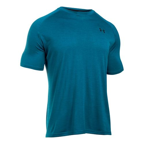 Mens Under Armour UA Tech Short Sleeve T Technical Tops - Peacock/Black M