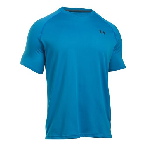 Mens Under Armour Tech Short Sleeve T Technical Tops - Brilliant Blue/Grey L