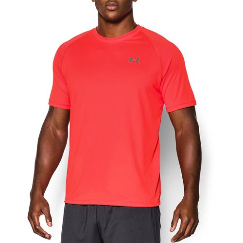 Mens Under Armour Tech Short Sleeve T Technical Tops - Bolt/Orange M