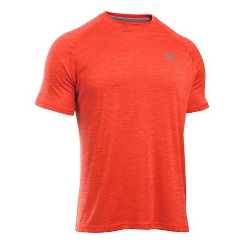 Mens Under Armour UA Tech Short Sleeve T Technical Tops - Dark Orange/Steel XL