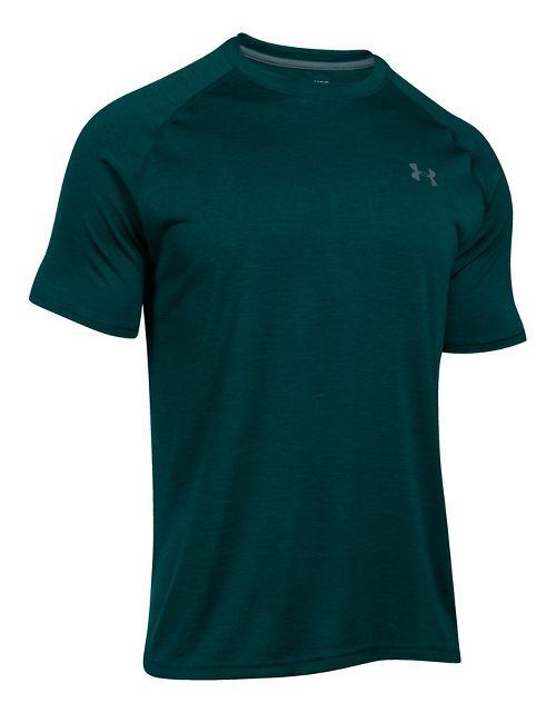 Mens Under Armour Tech Short Sleeve T Technical Tops - Forest Green/Steel XXL