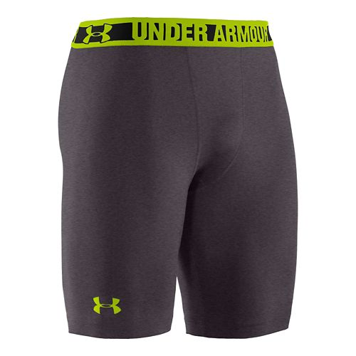 Mens Under Armour Heatgear Sonic Compression Fitted Shorts - Carbon Heather/Tropic Pink S