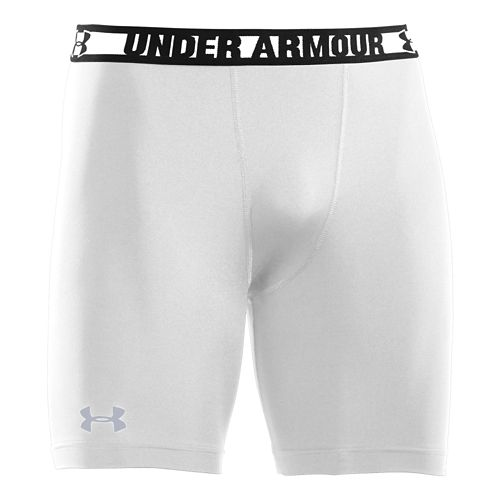 Mens Under Armour Heatgear Sonic Compression Fitted Shorts - White/Steel XXL