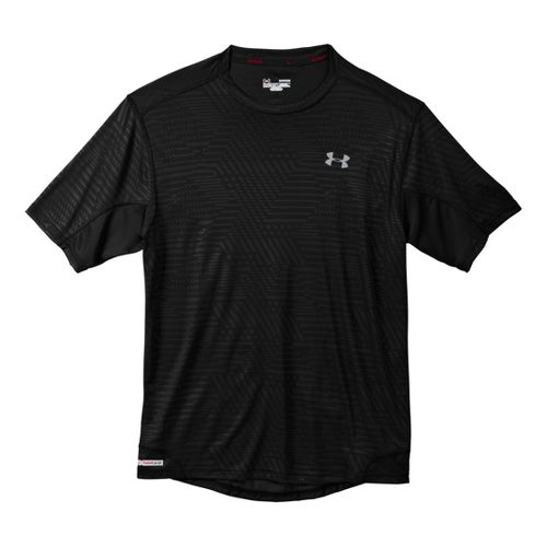 Mens Under Armour Heatgear Flyweight Run Emboss T Short Sleeve Technical Tops - Black L ...