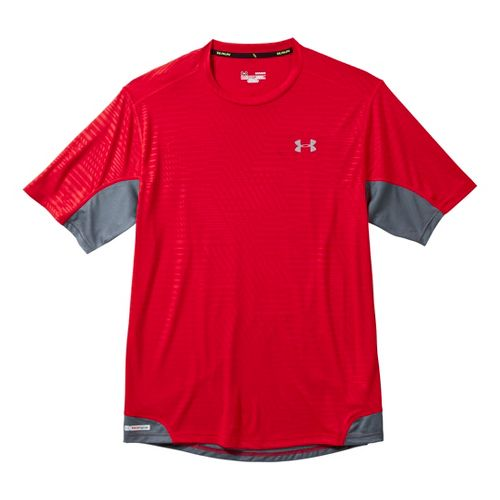 Mens Under Armour Heatgear Flyweight Run Emboss T Short Sleeve Technical Tops - Red S ...