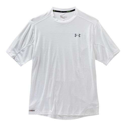 Mens Under Armour Heatgear Flyweight Run Emboss T Short Sleeve Technical Tops - White S ...