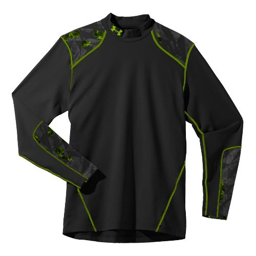 Mens Under Armour UA Coldgear Infrared EVO Mock Long Sleeve No Zip Technical Tops - ...