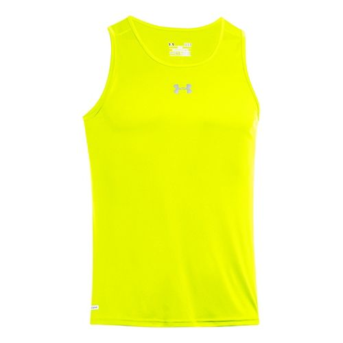 Mens Under Armour Heatgear Flyweight Run Singlet Tanks Technical Tops - Neon Yellow L