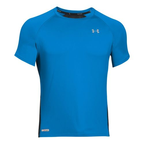 Mens Under Armour Heatgear Flyweight Run Short Sleeve Technical Tops - Electric Blue/Black L