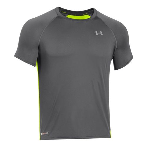 Mens Under Armour Heatgear Flyweight Run Short Sleeve Technical Tops - Graphite/Neon Yellow M