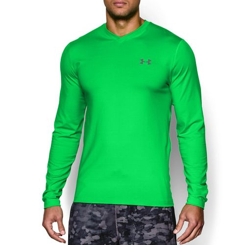 Mens Under Armour Coldgear Infrared T Long Sleeve No Zip Technical Tops - Green Energy ...