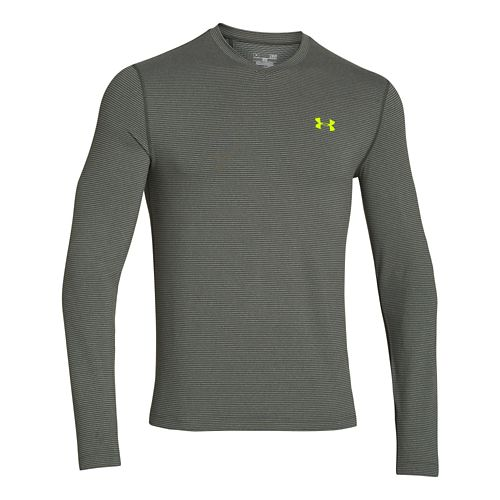 Mens Under Armour Coldgear Infrared T Long Sleeve No Zip Technical Tops - Army/Neon Yellow ...