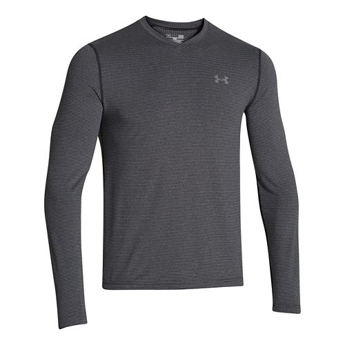 Mens Under Armour Coldgear Infrared T Long Sleeve No Zip Technical Tops - Black/Graphite L ...