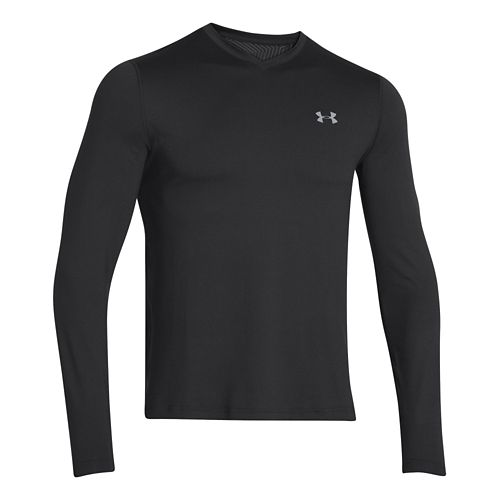 Mens Under Armour Coldgear Infrared T Long Sleeve No Zip Technical Tops - Black/Steel L ...
