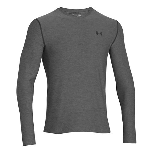 Mens Under Armour Coldgear Infrared T Long Sleeve No Zip Technical Tops - Carbon Heather/Black ...
