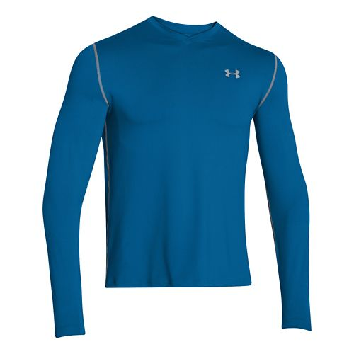Mens Under Armour Coldgear Infrared T Long Sleeve No Zip Technical Tops - Key Blue/Steel ...