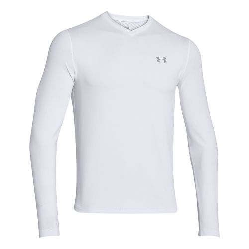 Mens Under Armour Coldgear Infrared T Long Sleeve No Zip Technical Tops - White/Steel S ...
