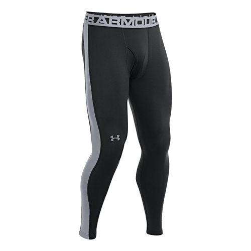 Mens Under Armour Coldgear Infrared Legging Fitted Tights - Black/Steel XL