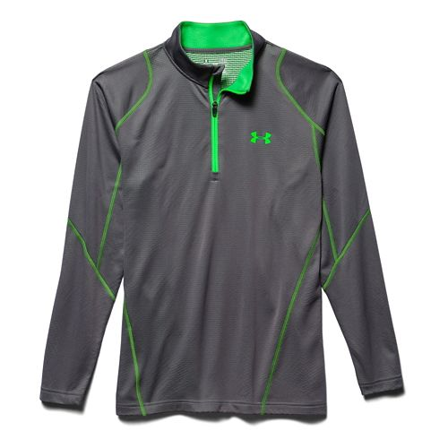 Mens Under Armour Coldgear Infrared Grid Long Sleeve 1/2 Zip Technical Tops - Graphite M ...