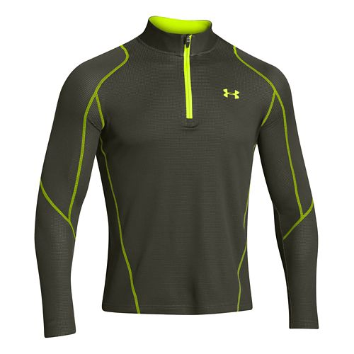 Mens Under Armour Coldgear Infrared Grid Long Sleeve 1/2 Zip Technical Tops - Arrow/Neon Yellow ...