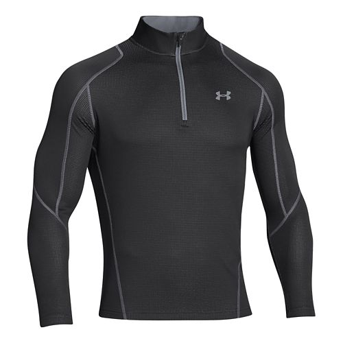 Mens Under Armour Coldgear Infrared Grid Long Sleeve 1/2 Zip Technical Tops - Black/Steel L ...