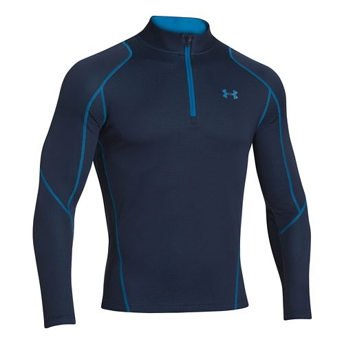 Mens Under Armour Coldgear Infrared Grid Long Sleeve 1/2 Zip Technical Tops - Navy/Blue L ...