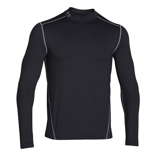 Mens Under Armour EVO Coldgear Fitted Mock Long Sleeve No Zip Technical Tops - Black ...