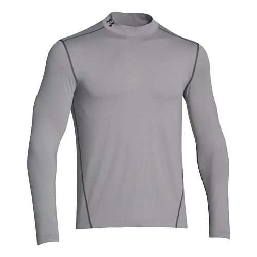 Mens Under Armour EVO Coldgear Fitted Mock Long Sleeve No Zip Technical Tops - Heather ...