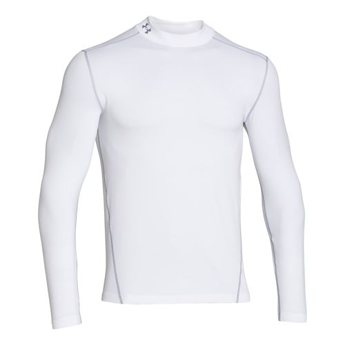Mens Under Armour EVO Coldgear Fitted Mock Long Sleeve No Zip Technical Tops - White ...