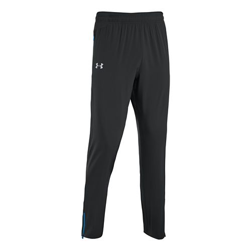 Mens Under Armour Heatgear Flyweight Run Full Length Pants - Black/Electric Blue L
