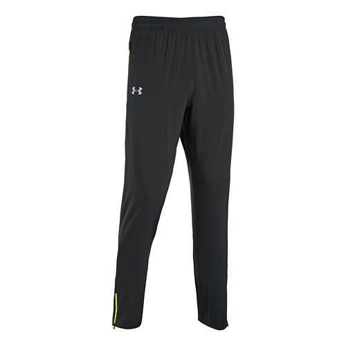 Mens Under Armour Heatgear Flyweight Run Full Length Pants - Black/High Vis Yellow L