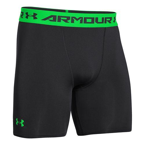 Mens Under Armour Heatgear Armour Compression Short Boxer Brief Underwear Bottoms - Black/Energy XL
