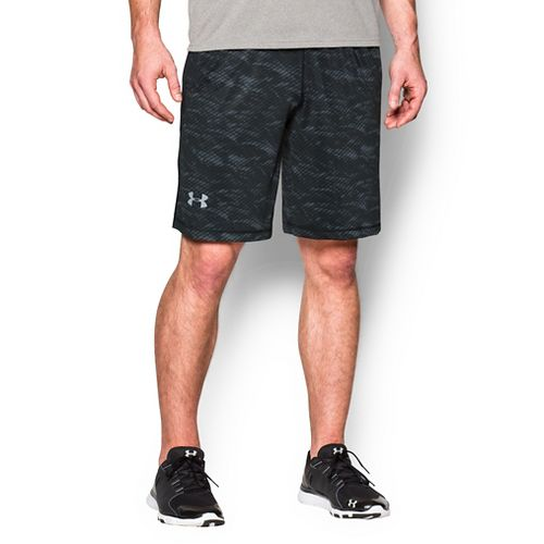 Mens Under Armour Raid Printed Compression & Fitted Shorts - Black/Steel Grey L