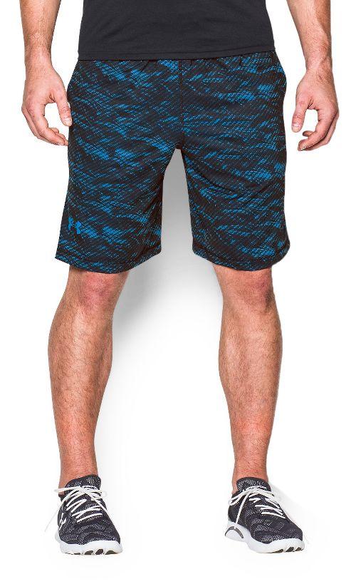 Mens Under Armour Raid Printed Unlined Shorts - Black/Blue L