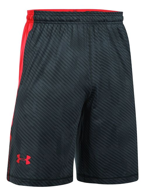 Mens Under Armour Raid Printed Unlined Shorts - Anthracite/Red L
