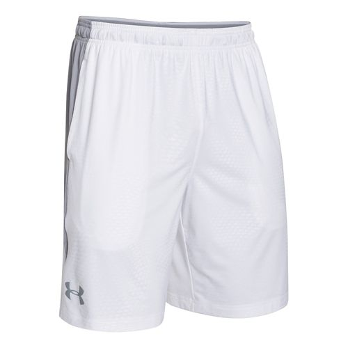 Mens Under Armour Raid Printed Unlined Shorts - White/Steel S