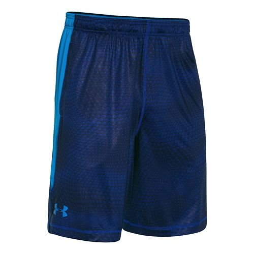 Mens Under Armour Raid Printed Unlined Shorts - Royal/Midnight Navy XL