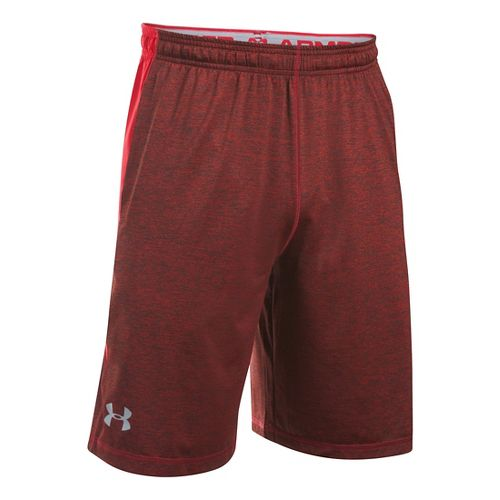 Mens Under Armour Raid Printed Unlined Shorts - Red/Steel XXL