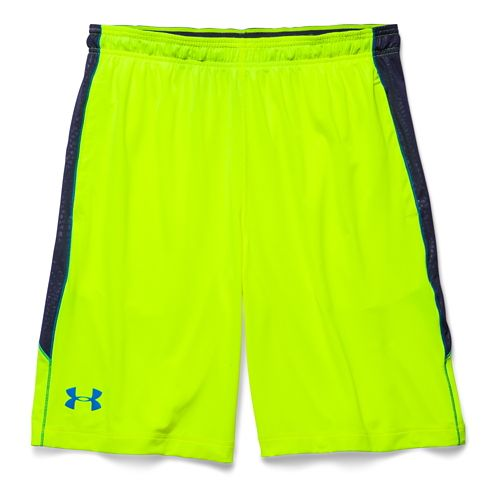 Mens Under Armour Raid Printed Unlined Shorts - High Vis Yellow/Navy 3XL