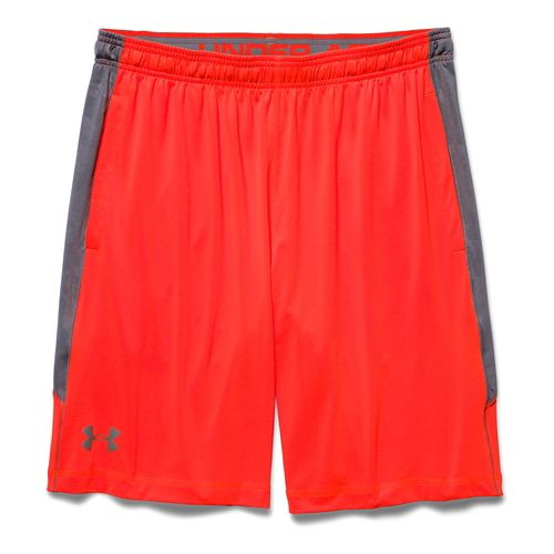 Mens Under Armour Raid Printed Unlined Shorts - Bolt/Orange L